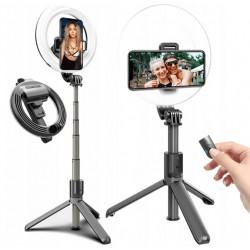 Statyw selfie stick do telefonu pilot lampa LED