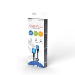 Elmak Kabel Magnetyczny USB - USB Typ C, Micro i L